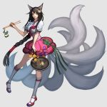 alternate_costume amumu animal_ears black_hair blitzcrank braid braided_hair butterfly chibi chop_sticks chopsticks elice elune_(artist) flower fox_ears fox_tail frying_pan hair_flower hair_ornament highres kneehighs league_of_legends long_hair multiple_characters multiple_tails mummy mushroom ponytail robot scorpion skarner tail