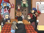 5girls 6+boys akagi_(pokemon) aogiri_(pokemon) apron blue_(pokemon) geechisu_(pokemon) haruka_(pokemon) hikari_(pokemon) hikari_(pokemon)_(remake) kotatsu kotone_(pokemon) lambda_(pokemon) matsubusa_(pokemon) multiple_boys multiple_girls pokemon pokemon_(game) pokemon_bw pokemon_dppt pokemon_frlg pokemon_hgss pokemon_rse sakaki_(pokemon) scarf table team_aqua team_galactic team_magma team_plasma team_rocket touko_(pokemon)