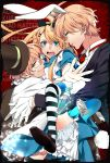 alice_(wonderland) alice_(wonderland)_(cosplay) alice_in_wonderland animal_ears apron blonde_hair bloomers blue_eyes blush bow bunny_ears bunny_tail cosplay crossdressing dress glasses gloves green_eyes hair_bow highres kurusu_shou long_hair mad_hatter mad_hatter_(cosplay) multiple_boys open_mouth rabbit_ears shinomiya_natsuki shinomiya_satsuki short_hair smile striped striped_legwear sweat tail thigh-highs thighhighs trap uta_no_prince-sama white_rabbit white_rabbit_(cosplay)