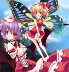 2girls adapted_costume alternate_costume alternate_wings ascot bat_wings blonde_hair bow butterfly_wings dress fang flandre_scarlet hair_bow hat ichiru_(artist) multiple_girls open_back open_mouth purple_hair red_eyes remilia_scarlet short_hair siblings side_ponytail sisters sleeveless sleeveless_dress thigh-highs touhou white_legwear wings wrist_cuffs