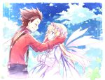 1girl blonde_hair blue_background blue_eyes brown_hair closed_eyes cloud clouds coat colette_brunel couple eyes_closed gloves kinoshita_neko lloyd_irving long_hair sky smile spiked_hair spiky_hair suspenders tales_of_(series) tales_of_symphonia wings