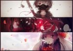 absurdres cigarette eyepatch gas_mask hei_yan-m82a1 highres multiple_girls original smoking sword tears weapon