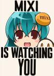 1girl :d blue_hair english mixi no_nose open_mouth poster propaganda satire short_hair smile solo youkan