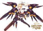 belt blonde_hair chainsword cicin highres mechanical_wings necktie odin original ponytail princess_royale red_eyes thighhighs wings wink