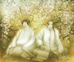 axis_powers_hetalia braid china_(hetalia) chinese_clothes flower japan_(hetalia) japanese_clothes long_hair long_sleeves male monochrome multiple_boys open_mouth ponytail short_hair single_braid smile winji