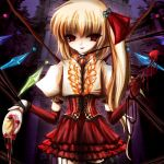 adapted_costume alternate_hair_length alternate_hairstyle corset flandre_scarlet food frills hair_ribbon jewelry long_hair necklace ponytail red_eyes ribbon skirt solo sweets tiffaco touhou wings