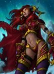 alexstrasza armband armor bikini_armor boots cape claws elune_(artist) gauntlets glowing glowing_eyes horn_ring horns long_hair midriff orange_eyes red_hair redhead solo thigh-highs thigh_boots thigh_strap thighhighs warcraft world_of_warcraft