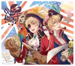 america_(hetalia) american_flag axis_powers_hetalia bag bandana bandanna bird blonde_hair blue_eyes brooch character_name coin cravat english eyepatch feathers flintlock glasses gloves gold green_eyes gun jewelry macaw male multiple_boys open_mouth parrot pipe pirate pistol red-and-green_macaw ryouko_(lovelovela) short_hair skull smile smoke sword union_jack united_kingdom_(hetalia) weapon