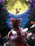bamboo blonde_hair braid broom broom_riding brown_hair from_behind full_moon hair_tubes hakurei_reimu hat hat_ribbon imperishable_night kirisame_marisa long_hair moon multiple_girls night night_sky orb ribbon single_braid sitting sky taker touhou witch_hat yin_yang