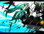 airplane beruzenefu green_eyes green_hair hatsune_miku highres koi_wa_sensou_(vocaloid) long_hair pantyhose power_lines revision sitting smile traffic_light twintails very_long_hair vocaloid