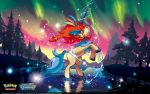 1920x1200 alternate_form artist_request aurora blue_eyes horn keldeo lake looking_at_viewer official_art pokemon_trading_card_game red_hair redhead resolute solo tree wallpaper water watermark