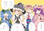 >_< alice_margatroid backpack bag blonde_hair blue_hair blush bow braid brown_eyes capelet commentary crescent embarrassed female hair_bow hammer_(sunset_beach) hand_on_head hat highres kawashiro_nitori kirisame_marisa long_hair looking_away multiple_girls patchouli_knowledge purple_eyes purple_hair short_hair single_braid speech_bubble standing subterranean_animism sweatdrop text touhou translated translation_request very_long_hair violet_eyes