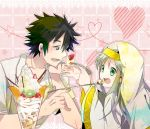 black_hair brown_eyes couple green_eyes habit heart index kamijou_touma long_hair school_uniform short_hair silver_hair smile spiked_hair spiky_hair sweets takumi_(scya) to_aru_majutsu_no_index