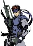 assault_rifle bouzu_atama brown_hair bullpup cigarette elbow_pads famas gloves gun headband holster magazine_(weapon) metal_gear metal_gear_solid pistol rifle short_hair sneaking_suit solid_snake solo thigh_holster weapon