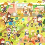 6+girls aipom ampharos audino baseball_cap beanie blue_(pokemon) blue_(pokemon)_(classic) bread bulbasaur chansey chibi chikorita clefairy couple crystal_(pokemon) digglet diglett dragonair dratini dual_persona eating emolga flygon food gothita grass gulpim gulpin hamburger haruka_(pokemon) hat hikari_(pokemon) hoothoot hot_dog hue_(pokemon) jun_(pokemon) kotone_(pokemon) krokorok lilligant mareep marill mei_(pokemon) mew multiple_boys multiple_girls munchlax n_(pokemon) oddish ookido_green oshawott pachirisu pantyhose pikachu pokemon pokemon_(creature) pokemon_(game) pokemon_bw pokemon_bw2 pokemon_dppt pokemon_frlg pokemon_gsc pokemon_hgss pokemon_rgby pokemon_rse politoed purrloin reuniclus rotasu sandwich silver_(pokemon) sitting skiploom sneasel snivy spinarak spinda sunflora sunkern thighhighs torterra touko_(pokemon) trapinch vulpix walking wigglytuff wooper yuuki_(pokemon) zorua