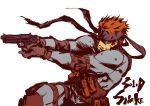 aiming bouzu_atama brown_hair elbow_pads gun headband holster knee_pads load_bearing_vest metal_gear metal_gear_solid pistol pouches short_hair sneaking_suit solid_snake solo thigh_holster weapon
