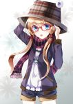 :o alternate_costume bespectacled blonde_hair blue_eyes contemporary fashion frog glasses hair_ribbon hand_on_hat hat highres jewelry long_hair moriya_suwako necklace plaid plaid_scarf pokoruru red-framed_glasses ribbon scarf shorts solo touhou