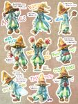 bent_over deboo final_fantasy final_fantasy_ix flying_sweatdrops gloves hands_on_hat hands_together hat holding multiple_views sitting solid_oval_eyes squatting staff traditional_media translation_request vertical_stripes vivi_ornitier walking watercolor_(medium) wizard_hat yellow_eyes