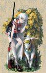 backpack bag bell dress flower goat grass highres long_hair original polearm shoes socks solo spear totoya_yuu weapon white_hair