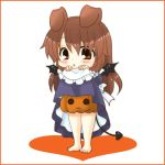 asahina_mikuru bat_wings bunny_ears chibi color comic costume demon_tail dress dress_lift halloween lowres maid minigirl pumpkin_pants rabbit_ears skirt skirt_lift suzumiya_haruhi_no_yuuutsu tail tokiomi_tsubasa wings