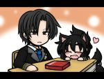 1girl ^_^ animal_ears black_hair closed_eyes desk dog_ears dog_tail dress_shirt eyebrows eyes_closed fang grey_eyes hair_up heart kemonomimi_mode letterboxed long_hair neckerchief oono_mayu open_mouth pixiv_azriel school_uniform shirt smile tail tail_wagging yanagi_(nurikoboshi)