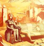 bandage bandage_over_one_eye bandages bench brown_hair commander_shepard_(female) couple damaged detached_sleeves faustsketcher good_end injury interlocked_fingers interlocked_hands kelly_chambers mass_effect mass_effect_3 multiple_girls mutual_yuri post-apocalypse red_hair redhead sepia short_hair sitting wheelchair yuri