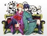 2boys alois_trancy black_legwear blonde_hair blue_eyes blue_hair ciel_phantomhive elbow_gloves eyepatch flower gloves hair_flower hair_ornament hairband japanese_clothes kneehighs kuroshitsuji male multiple_boys rinta smile thigh-highs trap