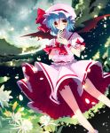 ascot bat_wings blue_hair cloud clouds cross finger_in_mouth flower full_moon graveyard moon night petals red_eyes remilia_scarlet revision rugo shirt short_hair skirt skirt_set sky solo star_(sky) touhou upskirt vines wind wings wrist_cuffs