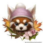 2012 beanie blue_eyes copyright_request flower fur hat leaf leaves red_panda silverfox5213 solo watermark web_address