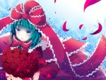 aqua_eyes aqua_hair arm_ribbon blush bouquet bow flower frills front_ponytail hair_bow hair_ornament hair_ribbon holding kagiyama_hina long_hair rairateru ribbon rose short_sleeves solo touhou
