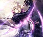 armor blue_eyes hair_over_one_eye highres ishida_mitsunari_(sengoku_basara) katana lira_mist sengoku_basara sengoku_basara_3 silver_hair solo sword weapon