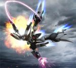 beam_rifle byalant_custom cannon claws clouds energy_sword explosion flying glowing gun gundam gundam_unicorn i-tek lens_flare mecha no_humans sky solo sword weapon