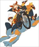 1boy 1girl bandana bandanna bicycle bike_shorts brown_eyes brown_hair closed_eyes dotabata haruka_(pokemon) hat laughing open_mouth poke_ball_theme pokemon pokemon_(creature) pokemon_(game) pokemon_rse swampert torchic white_background yuuki_(pokemon)