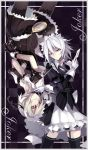 absurdres alternate_costume card dual_persona garter_belt highres izayoi_sakuya kaminagi_rushieruda koumajou_densetsu maid maid_headdress multiple_girls pantyhose red_eyes short_hair silver_hair thigh-highs thighhighs touhou