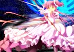 aiming alternate_costume arrow bow_(weapon) error goddess_madoka kaname_madoka long_hair mahou_shoujo_madoka_magica onaka_sukisuki orange_eyes pink_hair revision solo sparkle spoilers twintails two_side_up ultimate_madoka weapon yellow_eyes