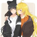 2girls black_hair blake_belladonna blonde_hair bow cardigan hair_bow hair_ornament hand_on_another's_shoulder highres hood hooded_jacket isshiki_(ffmania7) jacket long_hair multiple_girls one_eye_closed rwby smile upper_body violet_eyes yang_xiao_long yellow_eyes