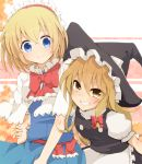 2girls alice_margatroid aoi_(annbi) apron arm_grab black_dress blonde_hair blue_dress blue_eyes bow braid capelet dress grin hair_ribbon hairband hat kirisame_marisa lolita_hairband looking_at_viewer multiple_girls puffy_sleeves ribbon sash shirt short_sleeves single_braid smile touhou waist_apron witch_hat yellow_eyes