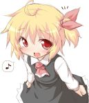 :d ascot blonde_hair blush clenched_hands fang hair_ribbon looking_at_viewer musical_note natsu_no_koucha open_mouth red_eyes ribbon rumia sketch smile solo spoken_musical_note touhou white_background