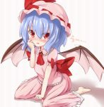 >:o arm_ribbon ascot barefoot bat_wings blue_hair blush bow brooch fang hat hat_ribbon jewelry kisa_(k_isa) looking_at_viewer open_mouth puffy_sleeves red_eyes remilia_scarlet ribbon rubbing_eyes shirt short_hair short_sleeves sitting skirt skirt_set slit_pupils solo tears touhou translated uu~ wariza wings
