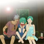 2boys aqua_hair dress eureka eureka_seven_(series) eureka_seven_ao family father_and_son food fruit fukai_ao hair_ornament husband_and_wife mother_and_son multicolored_hair multiple_boys renton_thurston shorts summer sundress watermelon