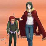 37suihan46 adult age_switch beard black_eyes black_hair book cape casual collar_grab cosplay costume_switch facial_hair fate/zero fate_(series) green_eyes green_hair jeans multiple_boys necktie red_eyes red_hair redhead rider_(fate/zero) rider_(fate/zero)_(cosplay) role_reversal squiggle t-shirt waver_velvet waver_velvet_(cosplay) young