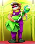 1boy 1girl aqua_eyes aqua_hair big_nose brown_hair carrying dress elbow_gloves facial_hair gloves green_dress grin hat highres mustache nintendo overalls pointy_shoes princess_carry queen queen_merelda runner_(rannaa) short_hair short_sleeves sleeveless smile wario wario_land wario_land_shake_it white_gloves