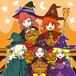 bare_shoulders blonde_hair blue_eyes broom brown_hair captain_syrup donkey_kong_(series) earrings hair_over_one_eye halloween hat highres jack-o'-lantern jewelry long_hair multiple_girls nintendo pauline princess_daisy princess_peach pumpkin purple_eyes red_eyes rosalina_(mario) rosetta_(mario) runner_(rannaa) super_mario_bros. super_mario_galaxy violet_eyes wand wario_land witch witch_hat