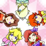 bandana bandanna bare_shoulders blomde_hair blonde_hair blue_eyes brown_eyes brown_hair bust captain_syrup crown donkey_kong_(series) dress earring earrings elbow_gloves gloves hair_over_one_eye jewelry long_hair multiple_girls necklace nintendo pauline pirate princess princess_daisy princess_peach princess_rosalina purple_eyes red_dress red_eyes red_hair rosalina_(mario) runner_(rannaa) smile star super_mario_bros. super_mario_galaxy super_mario_world. violet_eyes wario_land