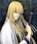 ai_(ai1470) bleach blonde_hair grin haori hirako_shinji holding japanese_clothes katana long_hair looking_at_viewer male sheath smile solo sword taichou_haori unsheathing weapon yellow_eyes