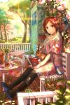 bench book brown_eyes brown_hair bunny cake cookie cup dress flower flower_pot food fuji_choko hair_flower hair_ornament highres house ivy leggings original pastry plant rabbit revision sitting solo tree trellis trencker vase watering_can