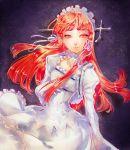 bow dress frills gothic_lolita hair_ribbon lolita_fashion long_hair persona persona_3 red_hair redhead ribbon solo yellow_eyes yoshino_chidori
