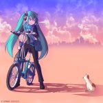 2012 aqua_eyes aqua_hair artist_name belt bicycle breath cat cityscape cloud clouds dated hatsune_miku headphones kei-suwabe long_hair revision scarf sky smile twintails vocaloid