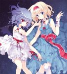 adapted_costume alice_margatroid arm_ribbon bare_shoulders bat_wings blonde_hair bloomers blue_dress blue_eyes blue_hair dress hairband hand_on_chin hand_to_chin kneehighs multiple_girls night ra-bit red_eyes remilia_scarlet ribbon_choker sash short_hair sky sleeveless sleeveless_dress star_(sky) touhou white_dress white_legwear wings