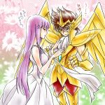 1girl armor athena bare_shoulders brown_eyes brown_hair caring closed_eyes couple cravat dress eyes_closed female full_armor hideta kido_saori long_hair male necktie pegasus_seiya purple_hair saint_seiya saint_seiya_omega short_hair very_long_hair white_dress